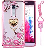 LG K7/LG K8 2016/Tribute 5/Treasure/LG Escape 3 Case,Luxury Bling Crystal Slim Back Soft Bumper Clear Gel TPU & Metal Ring Stand Cover For [Best Share], Love Stand Pink Strap