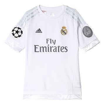 Adidas UCL Home Camiseta Real Madrid 2ª equipación 2015-2016, niño, Plateado (Blanco/Gricla), 176: Amazon.es: Deportes y aire libre