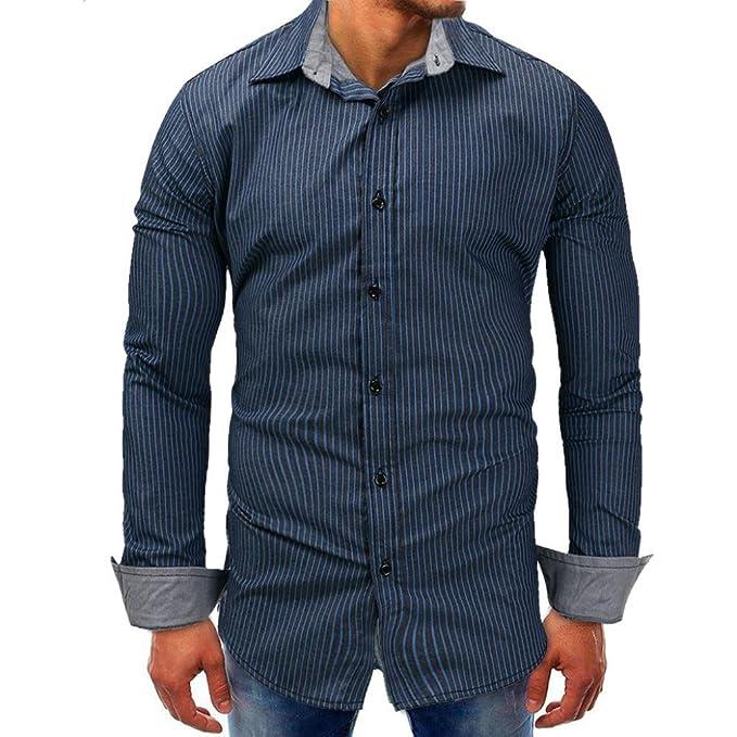 Resplend Camisa de Manga Larga básica Blusa sólida con Cuello en V para Hombre