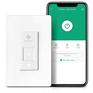 Etekcity Smart Light Switch, WiFi Enabled with Timer, Works with Alexa & Google Home, No Hub Required, Easy Installation, Requires Neutral Wire, Single Pole Only, 2 Year Warranty