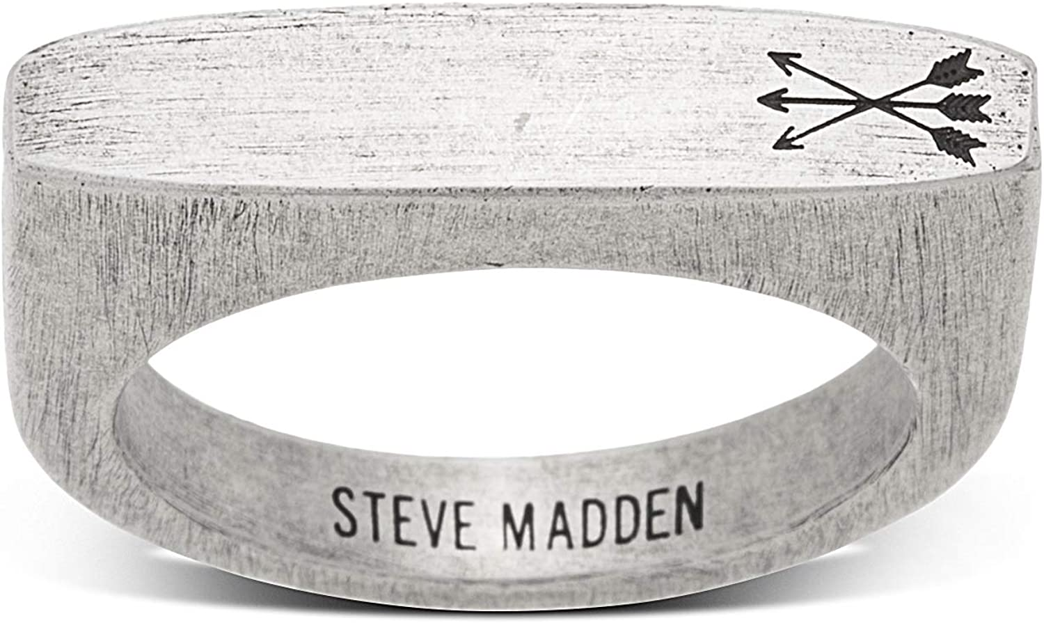 Steve Madden Stainless Steel Matte Arrow Design Flat Ring for Men