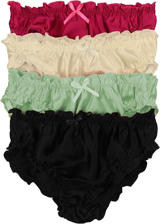 Pack of 4 Paradise Silk Pure Silk Womens Flouncing Panties Economic Pack