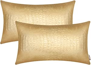 BRAWARM Pack of 2 Cozy Bolster Pillow Covers Cases for Couch Sofa Home Decoration Solid Dyed Crocodile Faux Leather Both Sides 12 X 20 Inches Gold