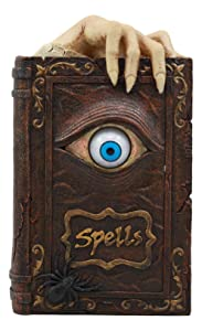"Ebros Witchcraft Sorcery Lifelike Evil Eye Book of Spells Money Bank Figurine Decor Statue 8.5"" Tall"