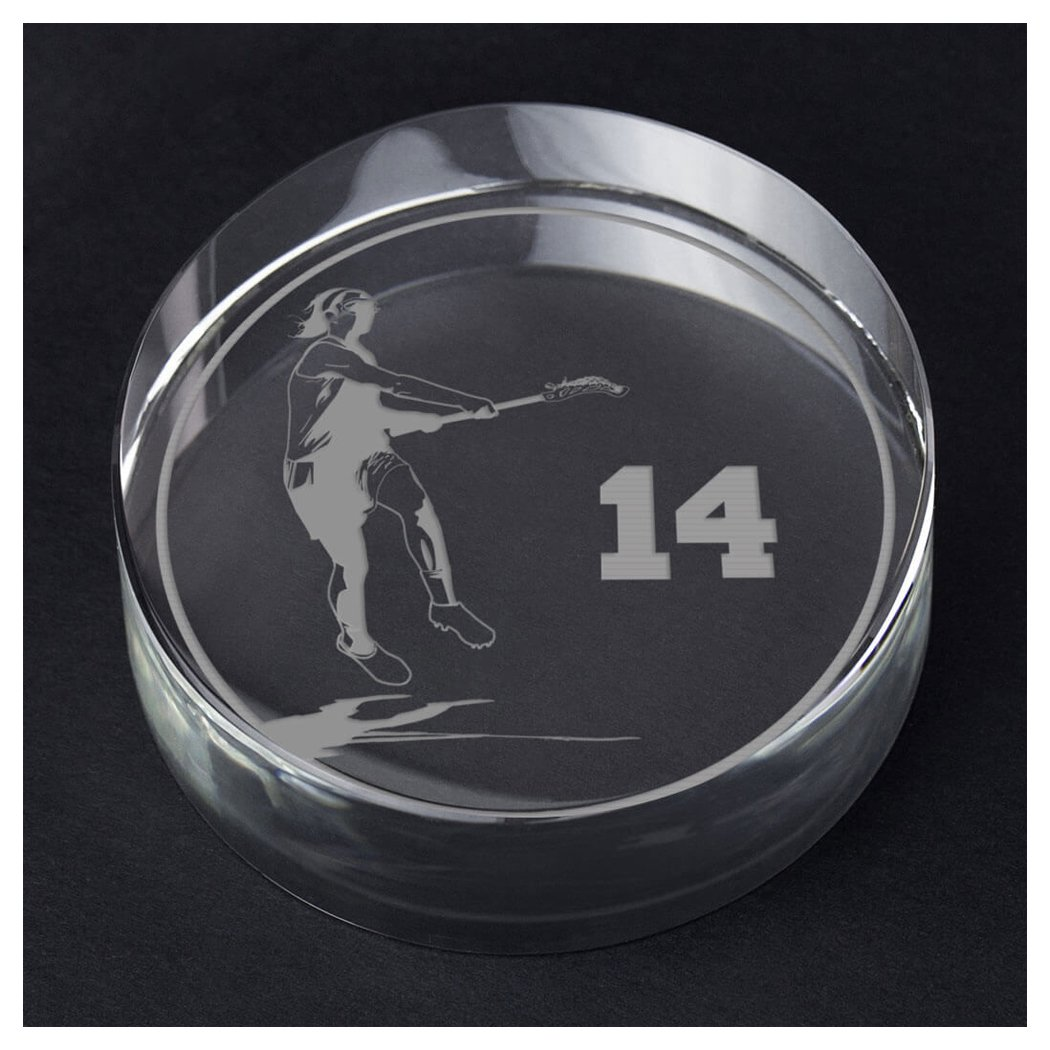 ChalkTalkSPORTS Girls Lacrosse Personalized Crystal Award Gift | Player Silhouette Custom Number