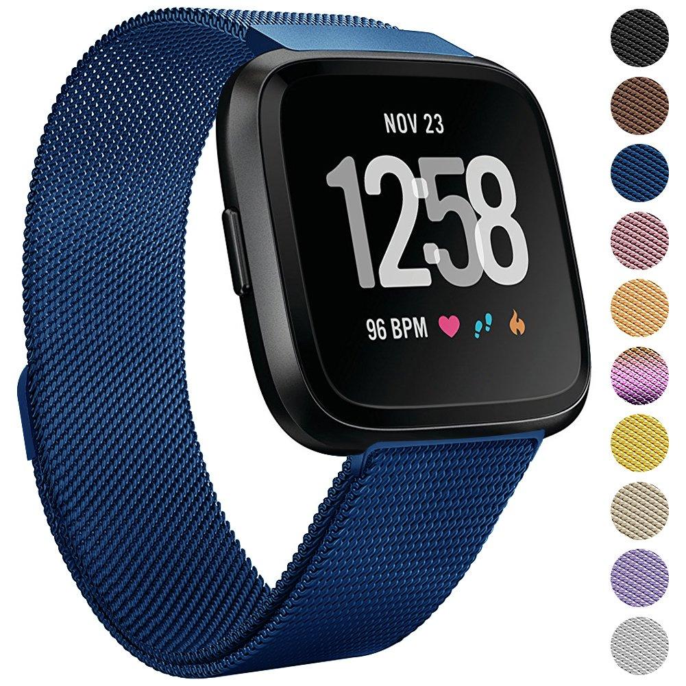 OneDream for Fitbit用Versaバンドレディースメンズ、金属織メッシュMilanese交換Wristbandsアクセサリーfor Fitbit Versa Fitness Smartwatch、簡単にインストール& Perfect Fit B07D768WFX ブルー Large