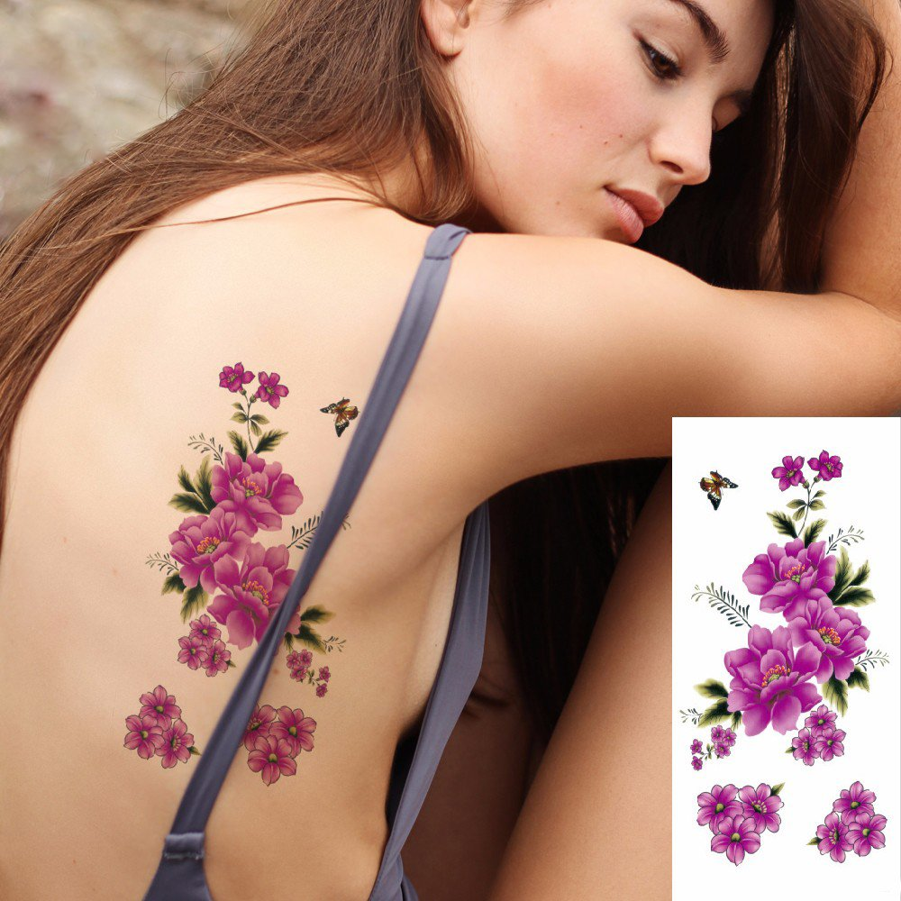 Kotbs 6 Sheets Floral Temporary Tattoo - Over 30+ Tattoos - Sexy Tattoo Sticker for Women & Girl Fake Tattoo (Chrysanthemum, Rose, Peony) by Kotbs (Image #3)