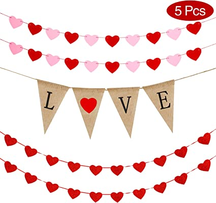 Valentines Day Decor Felt Garland KatchOn Xoxo Love Pink and Red Heart Garland Valentine Banner Valentines Decorations Valentines Garland No DIY Valentines Day Decorations Assembled Banner