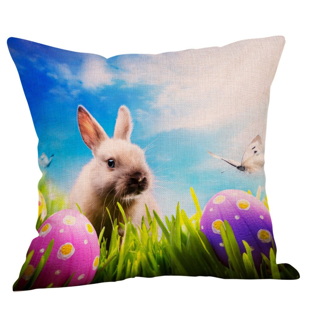 NUWFOR Happy Easter Pillow Cases Linen Sofa Cushion Cover Home Decor Pillow Case(D)