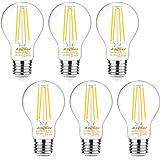 Ascher 60 Watt Equivalent, E26 LED Filament Light Bulbs, Daylight White 4000K, Non-Dimmable, Classic Clear Glass, A19 LED Lig