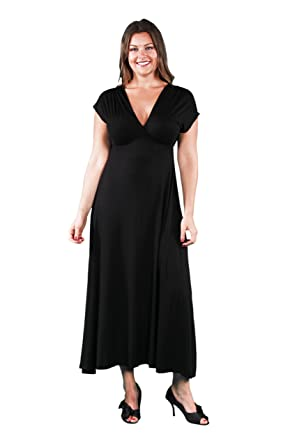 247 Comfort Apparel Plus Size Maxi Dresses V Neck Empire Waist For