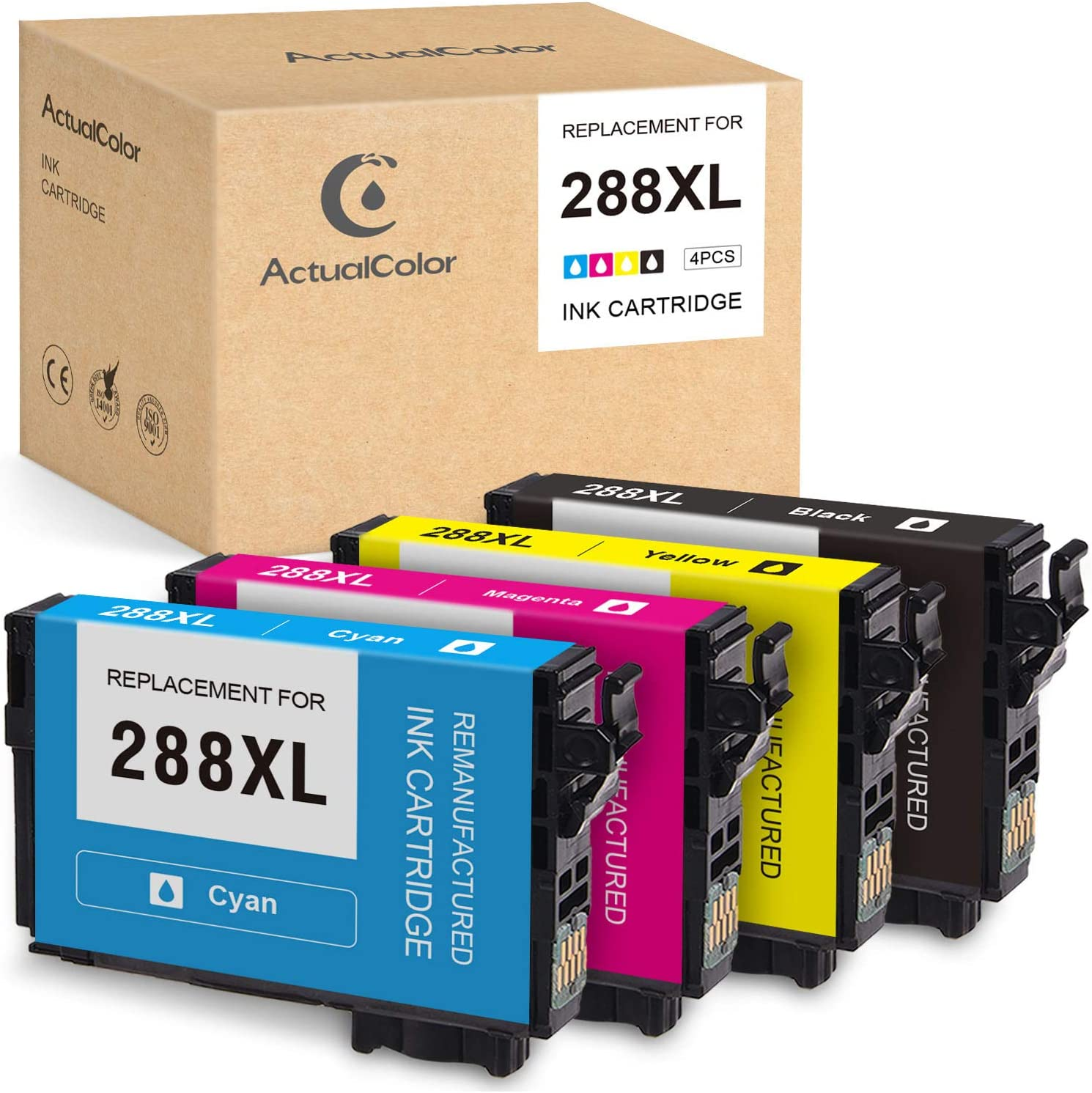 ActualColor C Remanufactured Ink Cartridge Replacement for Epson 288XL 288 XL T288XL Ink Cartridges for Expression Home XP-440 XP-430 XP-340 XP-330 XP-446 XP-434(Black, Cyan, Magenta, Yellow, 4-Pack)