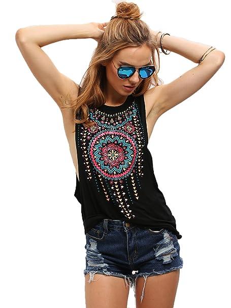d9e8c50f59fce0 Amazon.com  Milumia Women s Sleeveless Vintage Print Tank Top Vest ...