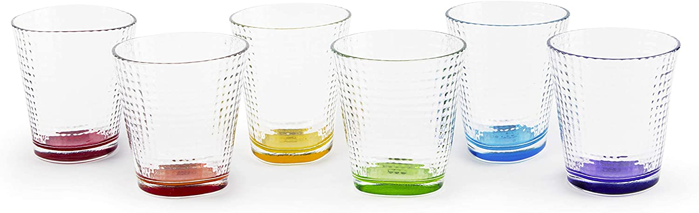 Excelsa Sanremo - Juego de 6 vasos de agua, cristal, transparentes con fondo de color