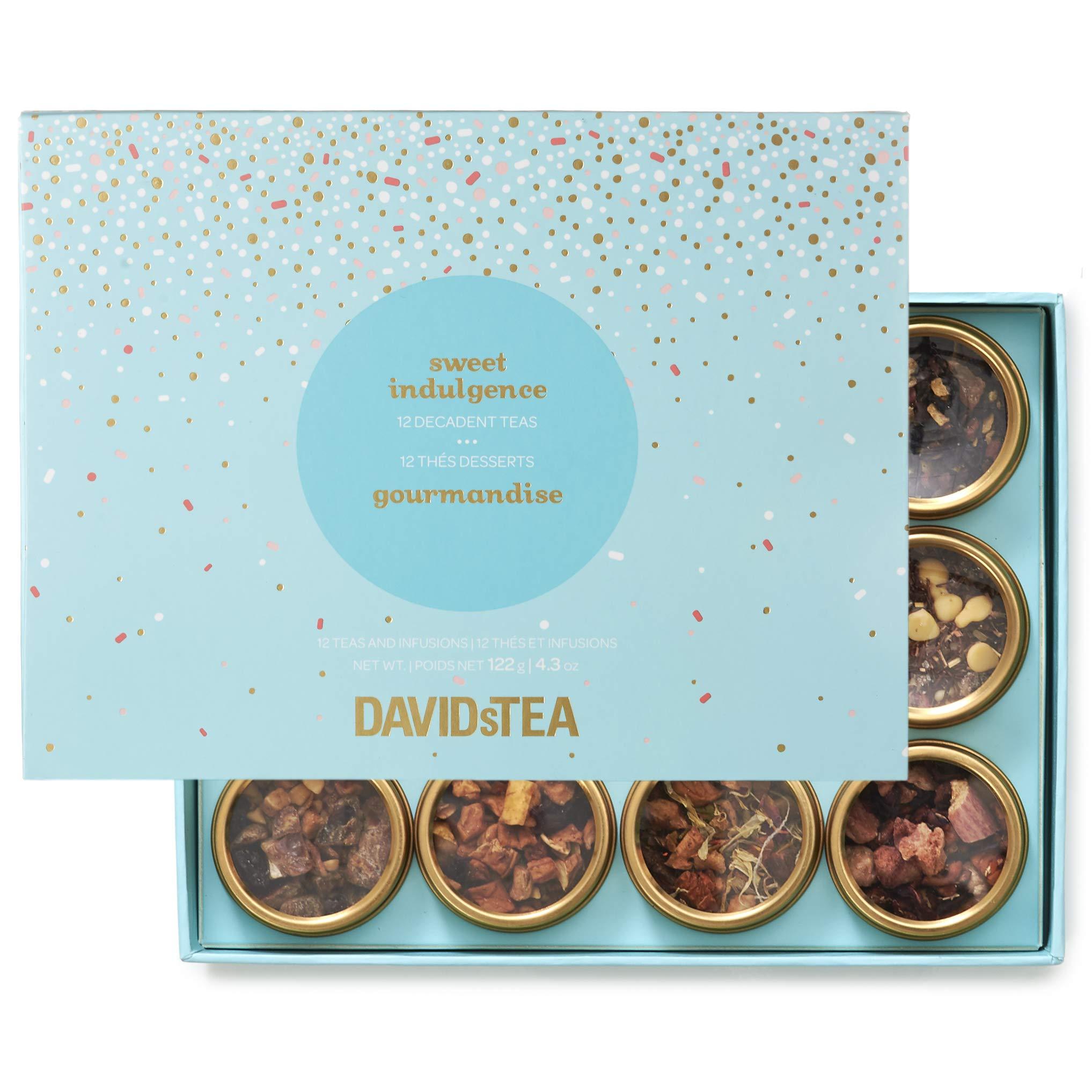 DAVIDsTEA Sweet Indulgence Tea Sampler, Dessert Loose Leaf Tea Gift Set, Assortment of 12 Decadent Teas, 122 g / 4.3 oz (SP) by DAVIDsTEA