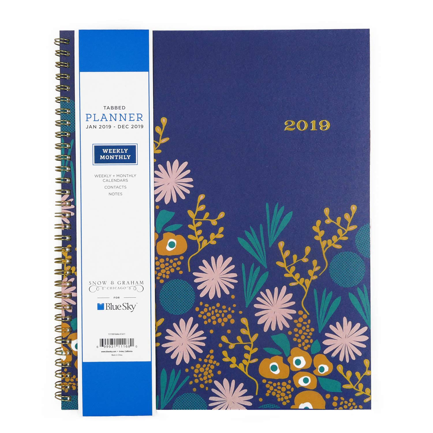Blue Sky Snow & Graham for 2019 Weekly & Monthly Planner, Flexible Frosted Cover, Twin-Wire Binding, 8.5'' x 11'', Kukka (111168)