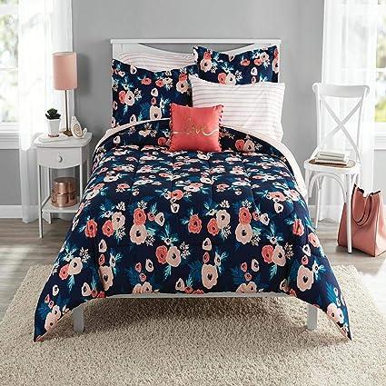 Amazoncom 8 Piece Navy Blue Pink Garden Flowers Theme Comforter