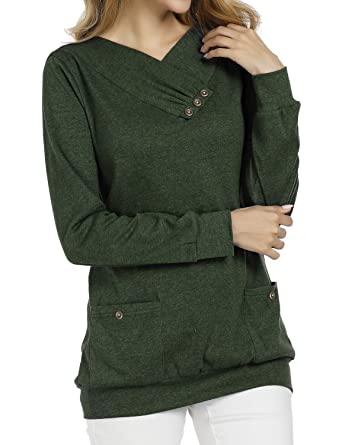 9817bcb4 Miusey V Neck Long Sleeve Tunic Pullover Sweatshirt with Pockets Tops Size  XL Green