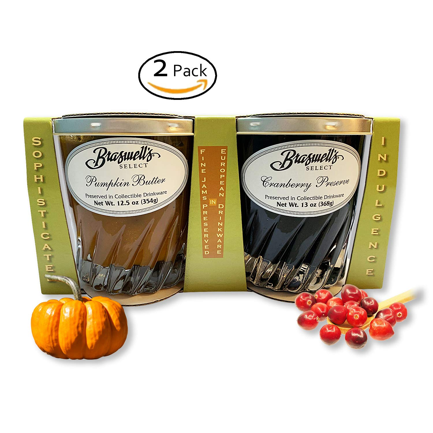 Braswell Perfect Pumpkin Butter Spread and Cranberry Preserves in European Collectible Drinkware - Limited Holiday Collection-Sweet and Delicious-Great For Thanksgiving and Entertaining by Cool Gadget Gift