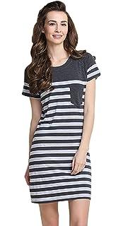 d67bb5ae0b1439 QianXiu Sommer Frauen Baumwolle Schlafanzüge Striped Nachtwäsche Kurzarm Nachthemd  Bequem Nacht Kleidung