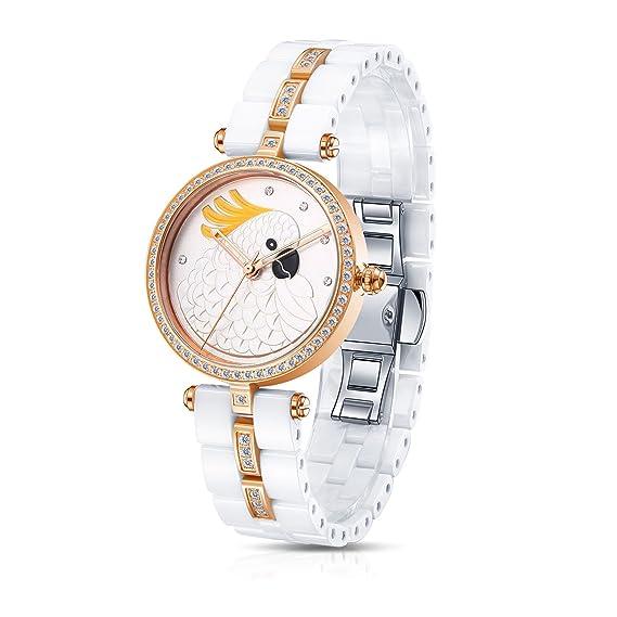 Time100 W50352L.04A Lujo Mujeres Joyería de diamante Correa de cerámica reloj de cuarzo mujer con águila: Time100 Watch: Amazon.es: Relojes