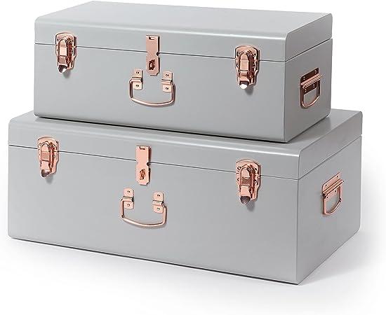 Beautify Set De 2 Coffres Malles De Organisation Rangement En Metal Vintage Pour Salon Chambre Dressing Gris Amazon Fr Cuisine Maison