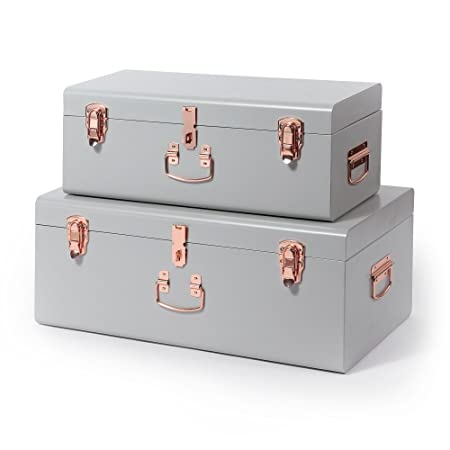 Exceptional Beautify Storage Trunks Set Of 2 Vintage Style Metal Steel For Bedroom,  Living Room