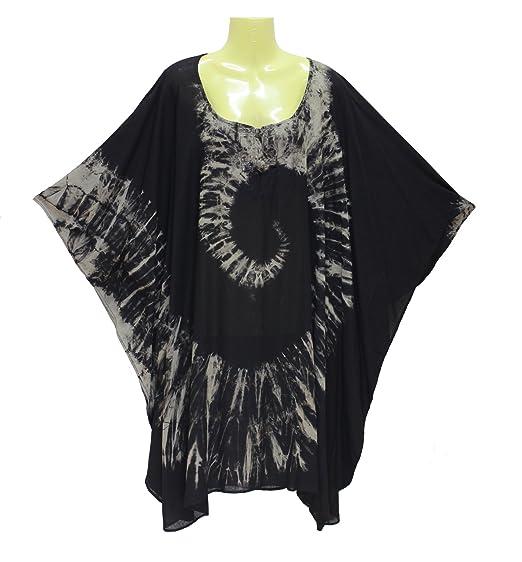 7266c2d02b9 DP Fashion Caftan Kaftan Poncho Blouse Knit Button Tie dye Handmade Plus  Size (Black)
