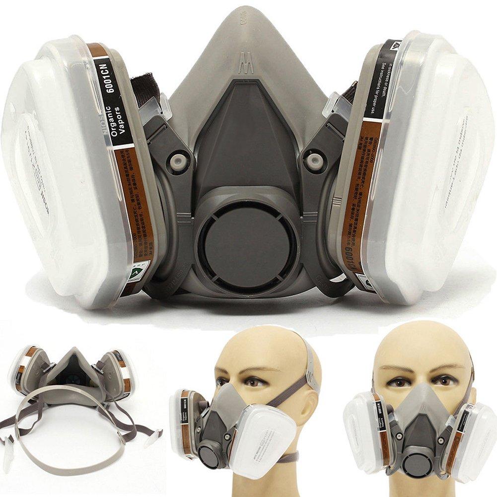 Masque à gaz respiratoire, 6200Demi masque respiratoire avec filtres remplaçable, polyvalent et léger avec double filtre Motif 6200Demi masque respiratoire avec filtres remplaçable polyvalent et léger avec double filtre Motif