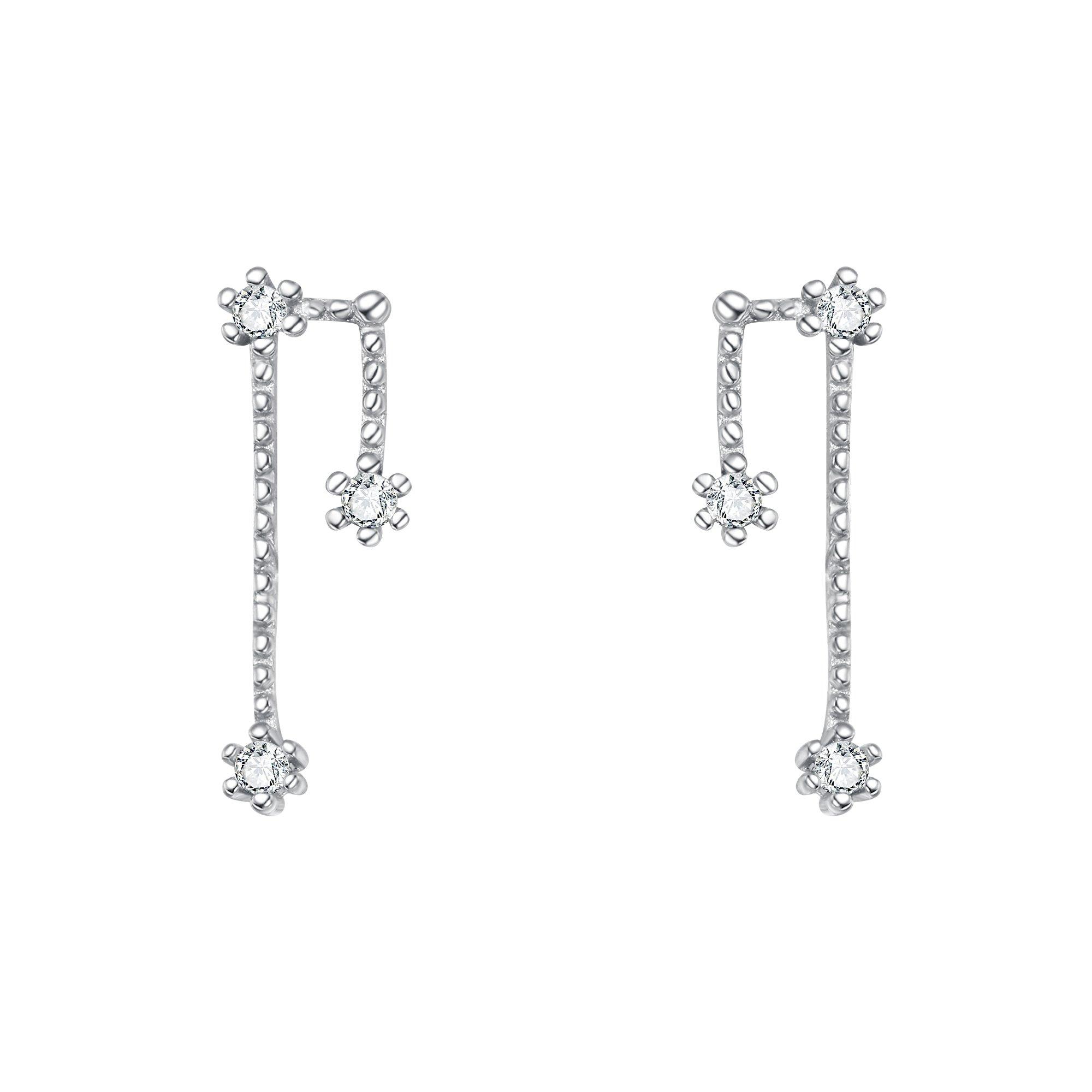 BriLove 925 Sterling Silver Ear Cuff - Taurus 12 Zodiac Constellation Horoscope Astrology CZ Ear Vine Post Crawler Earrings for Women