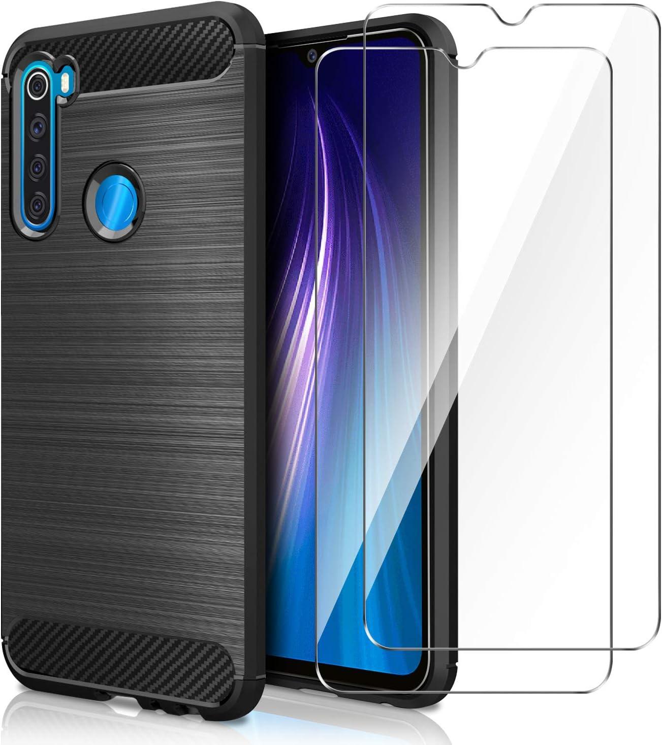 AROYI Funda Xiaomi Redmi Note 8, [2 Pack] Cristal Templado, Carcasa Silicona Fibra de Carbono TPU Alta Resistente y Flexibilidad Fundas Cover Caso para Xiaomi Redmi Note 8-Negro