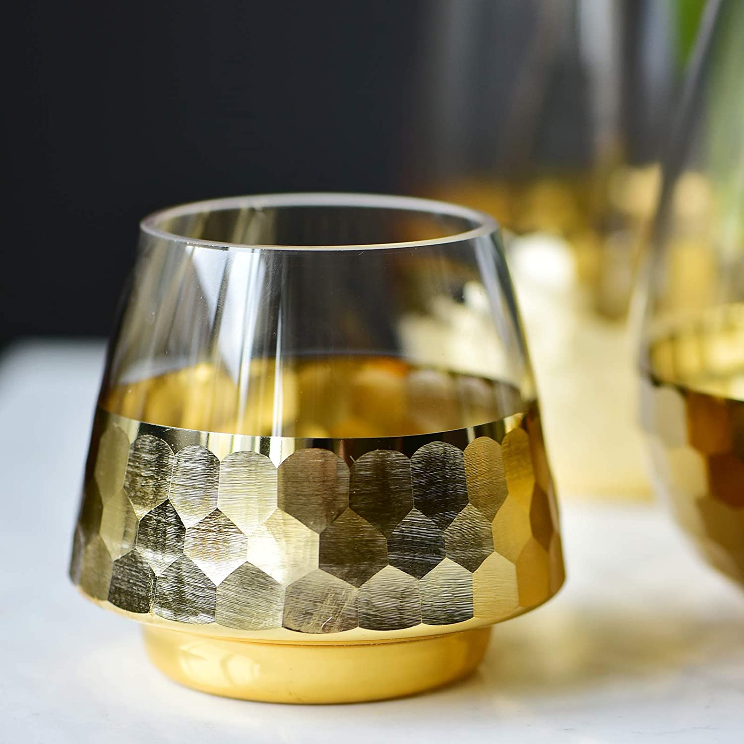 cyl home Hurricane Candleholders Clear Glass with Golden Honeycomb Decor Dining Table Centerpieces Bowl Tea Light Holders Gifts for Wedding Housewarming Christmas Party,3.9'' H x 3.2'' D