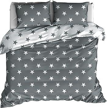Bettwäsche Sterne Grau Perkal Größe135x200 Cm 80x80 Cm Amazon