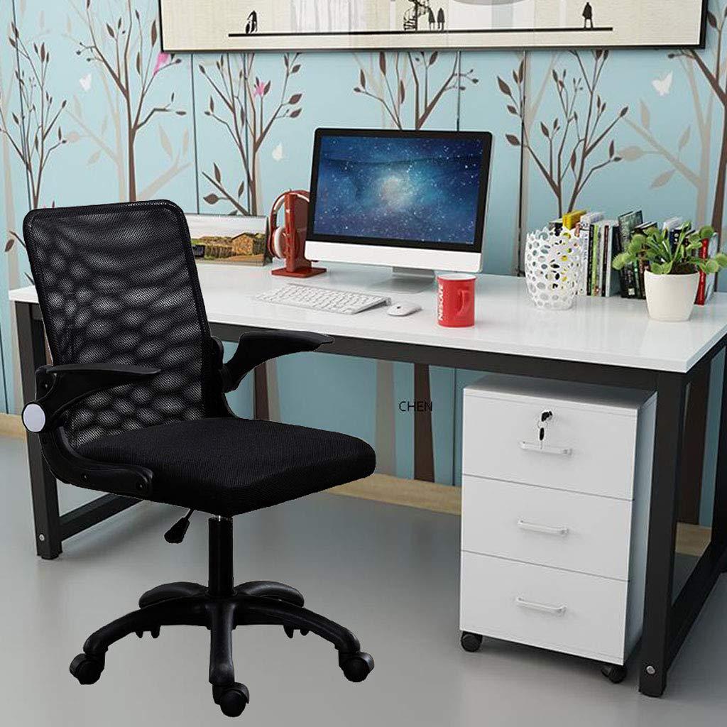 Svängbar stol hem kontor skrivbord stol lyft mitten av ryggen dator skrivbord stolar med nylon kastruller svamp och andningsbar nät för sovrum konferensrum, svart + grå + blå BLÅ