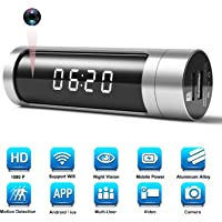 Hidden Spy Camera Clock Cam, WiFi 1080P Aluminum Alloy IP Network Camera Alarm with Built-in 1000mAh Power Bank/ 150 Wide Angle/iOS & Android APP or Pc Remote Control/Night Vision/Motion Detection