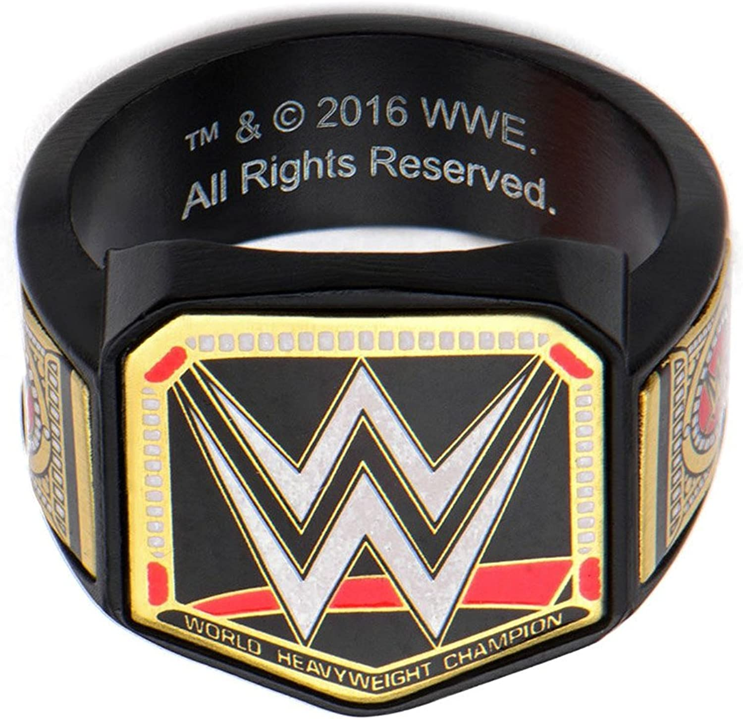 WWE Championship Belt Mens Stainless Steel Black PVD Plated Logo Ring (size 11)
