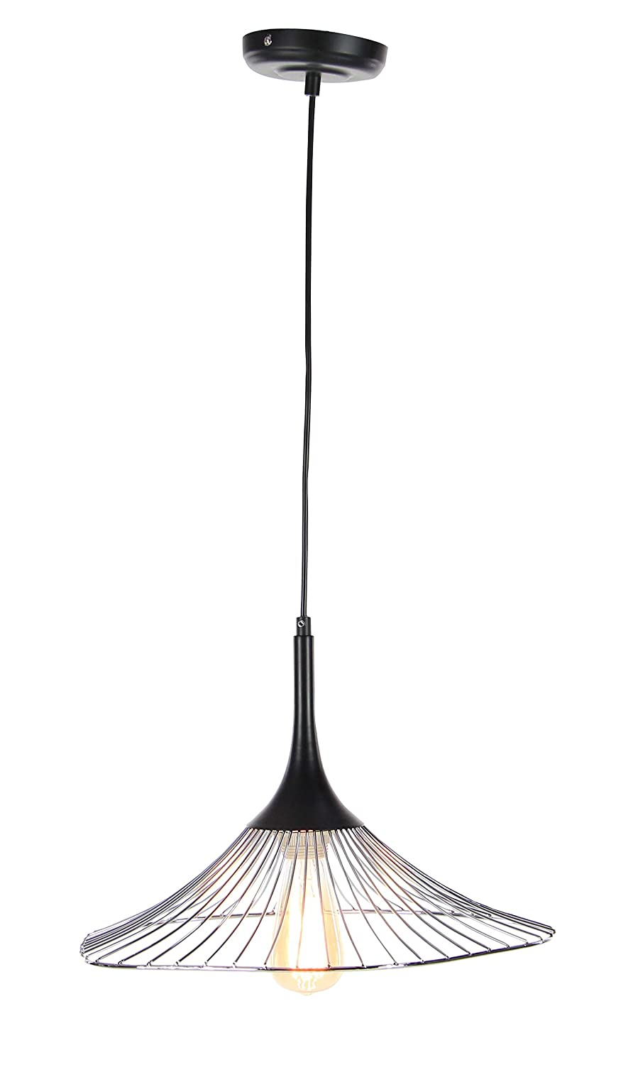 Deco 79 59292 Iron Cone-Shaped Pendant Lamp with Bulb Black