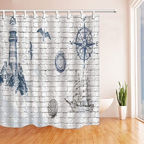 Lighthouse Polyester-Fabric Bathroom Shower Curtain Liner-waterproof-180*180cm