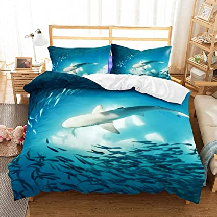 5c9c6748c9d0 APJJQ Ocean Whale Sharks Fish Print Bedding Duvet Cover Set Twin 100%  Microfiber Blue Kids
