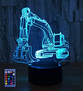 3D Excavator Night Light USB Powered Touch Switch Remote Control Decor Table Desk 3D Lamp 7/16 Color Changing Lights LED Table Lamp Xmas Home Love Brithday Children Kids Decor Toy Gift