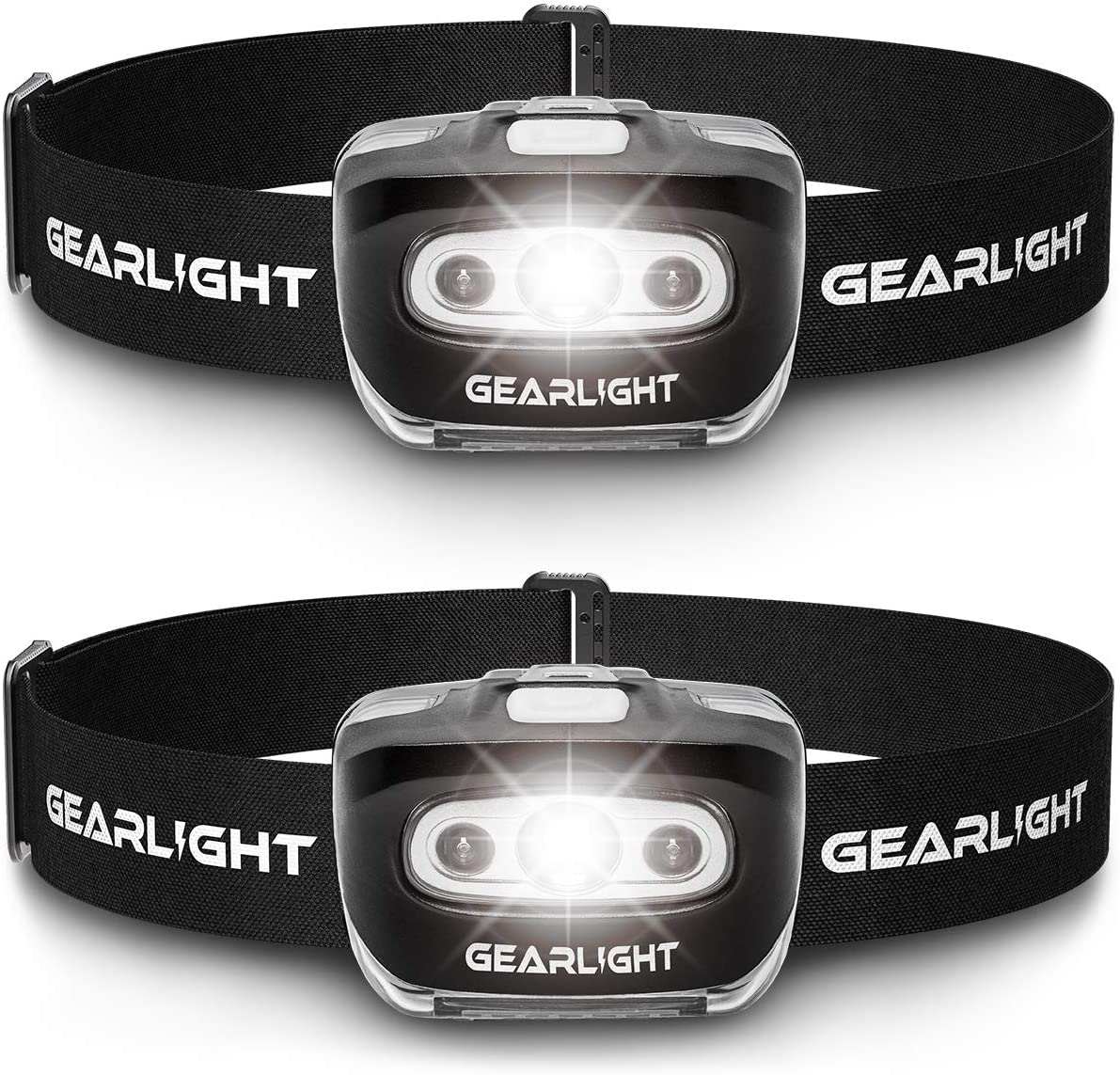 GearLight LED Headlamp Flashlight S500 [2 PACK] - Running, Camping, and Outdoor Headlamps - Best Head Lamp with Red Safety Light for Adults and Kids - -