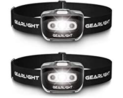 GearLight LED Head Lamp - Pack of 2 Outdoor Flashlight Headlamps w/ Adjustable Headband for Adults and Kids - Hiking & Campin