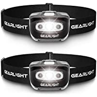 GearLight LED Headlamp Flashlight S500 [2 Pack] - Running, Camping, and Outdoor Headlight Headlamps - Head Lamp with Red Safety Light for Adults and Kids