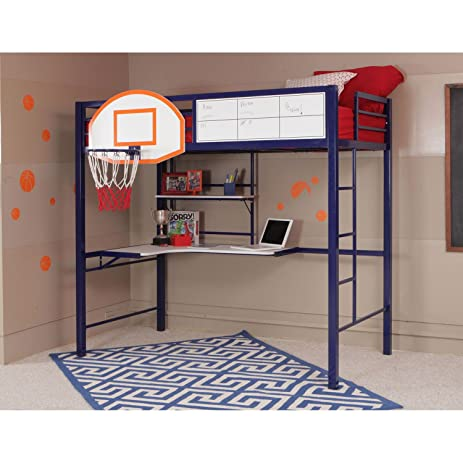 Amazon.com: Powell Hoops Basketball Twin Loft Bed with Desk-For ...