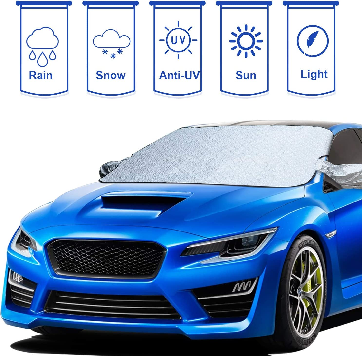 WinPower Car Windshield Sun Cover Sun Shade Protector with Mirror Cover for All Season 56.7in x 46.4in