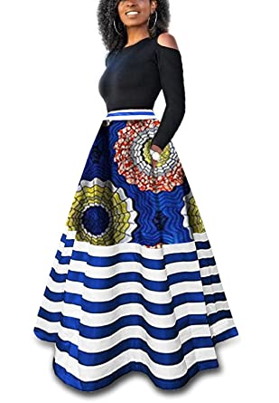 7318a68c7f09e Lovaru Womens Striped African Dresses Bobo Swing High Waisted Maxi Skirt  with Pockets at Amazon Women's Clothing store: