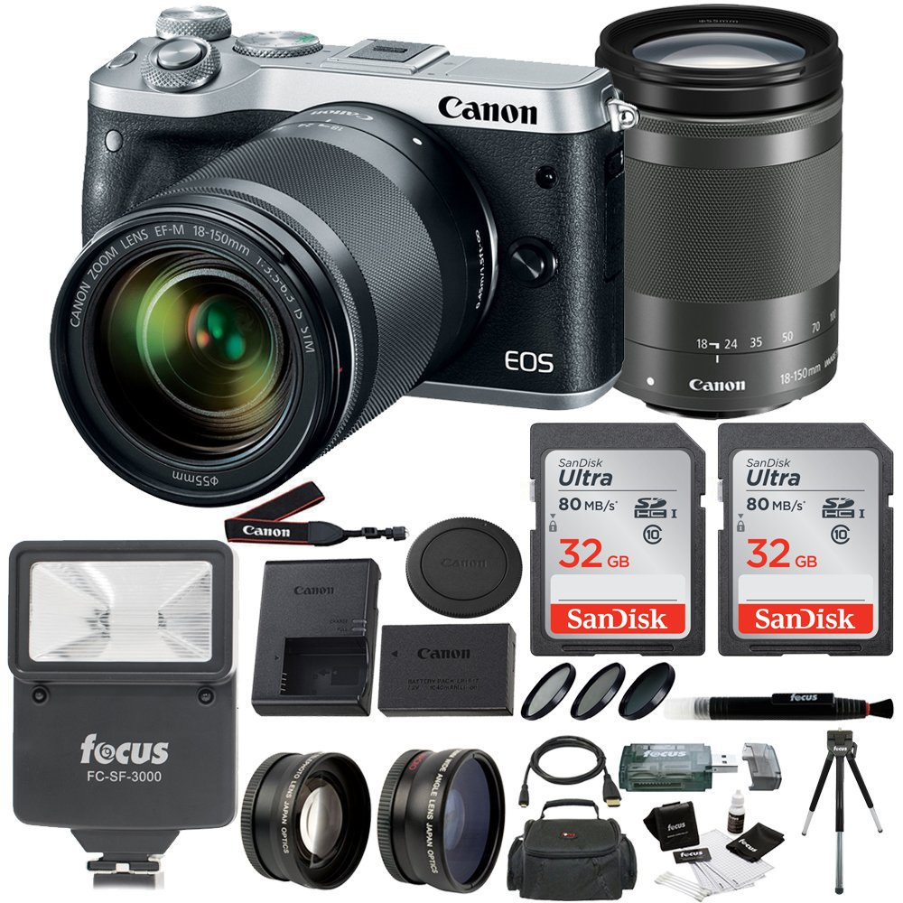 Canon EOS M6 (Silver) 18-150mm lens, Flash, Filters, Auxiliary lenses & 48GB Kit