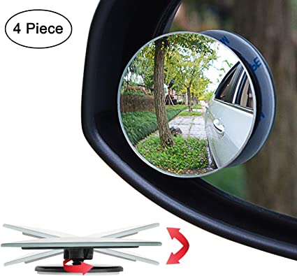 Frameless Square Stick-on Blind Spot Car Mirrors HD Glass Convex Wide Angle 2 Pc