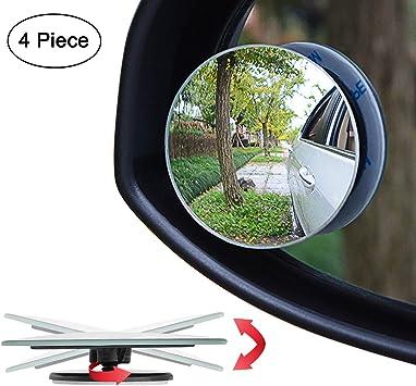 2 Piezas Espejo Punto Ciego Vista Trasera para Coche Camión Moto ABS Cristal
