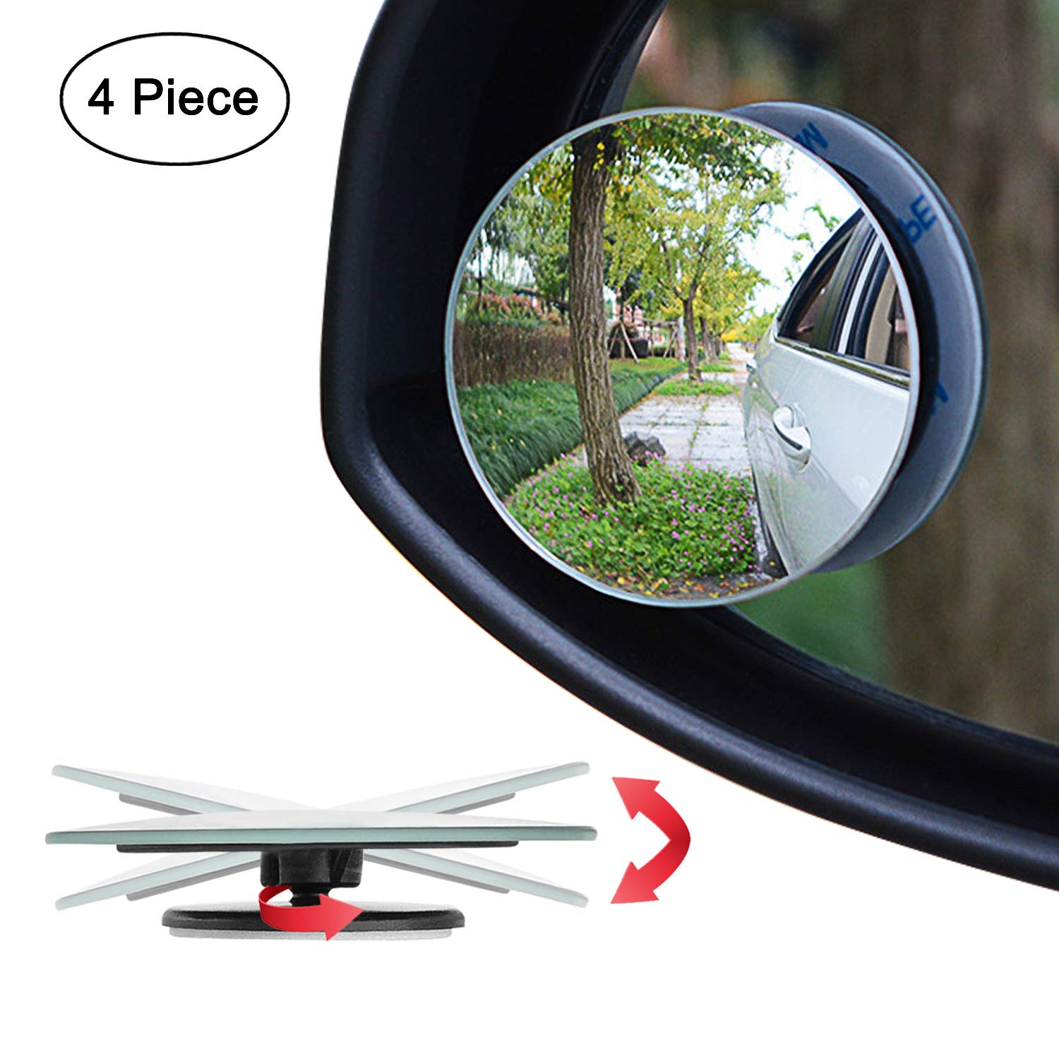 Pack of 2 Ampper Blind Spot Mirror 2 Round HD Glass Frameless Convex Rear View Mirror
